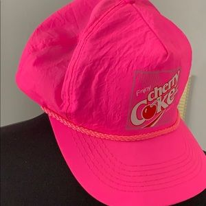 Coca Cola Accessories - Vintage Coca Cola hat pink enjoy cherry coke hat